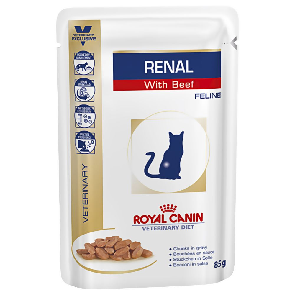 Royal Canin Veterinary Diet Cat - Renal with Beef - Saver Pack: 48 x 85g