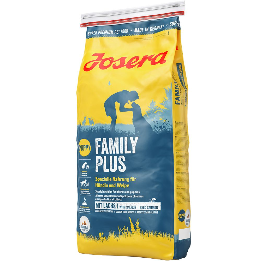 Josera FamilyPlus has been specially adapted to meet the nutritional needs of pregnant and lactating bitches and can also be used as a food for puppies before they...