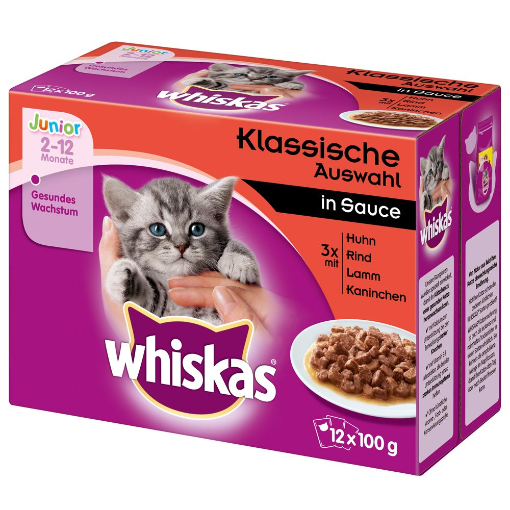 Whiskas Junior portionspåse 12 x 85/100 g - Fiskurval i gelé