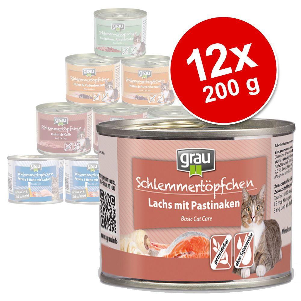 6x200g dinde, saumon, maquereau Menu gourmand sans céréales Grau - Nourriture pour Chat