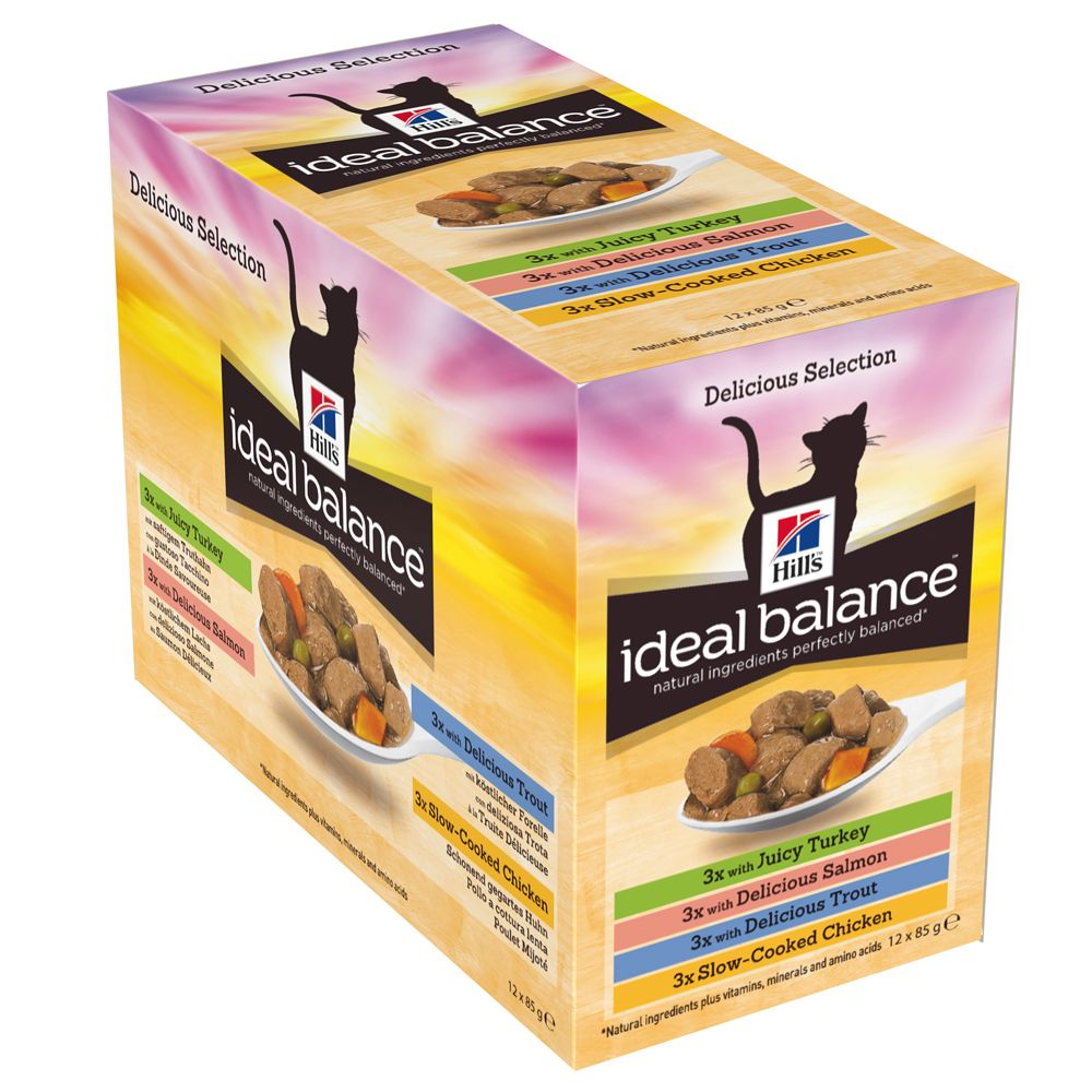 Hill's Ideal Balance Feline Adult Pouches Mixed Pack - Saver Pack: 24 x 85g