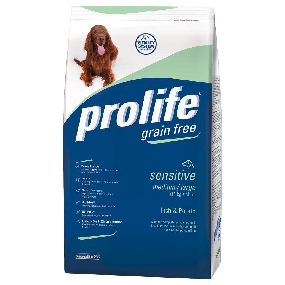 Foto Prolife Grain Free Sensitive Medium/Large Pesce & Patate - 12 kg Prolife Grain Free & Sensitive