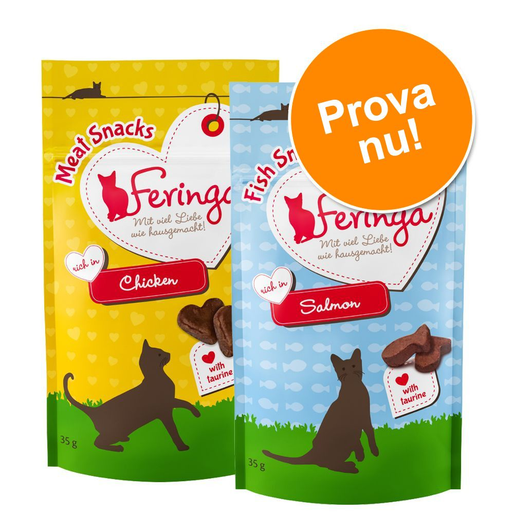 Blandade provpack Feringa Snacks - 2 x 35 g Meat & Fish Snack Kyckling + Lax