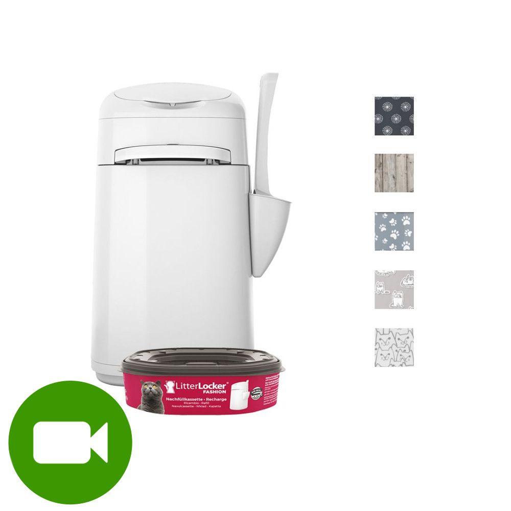 LitterLocker® Fashion pojemnik na zużyty żwirek - Nakładka materiałowa: biało - szare kotki