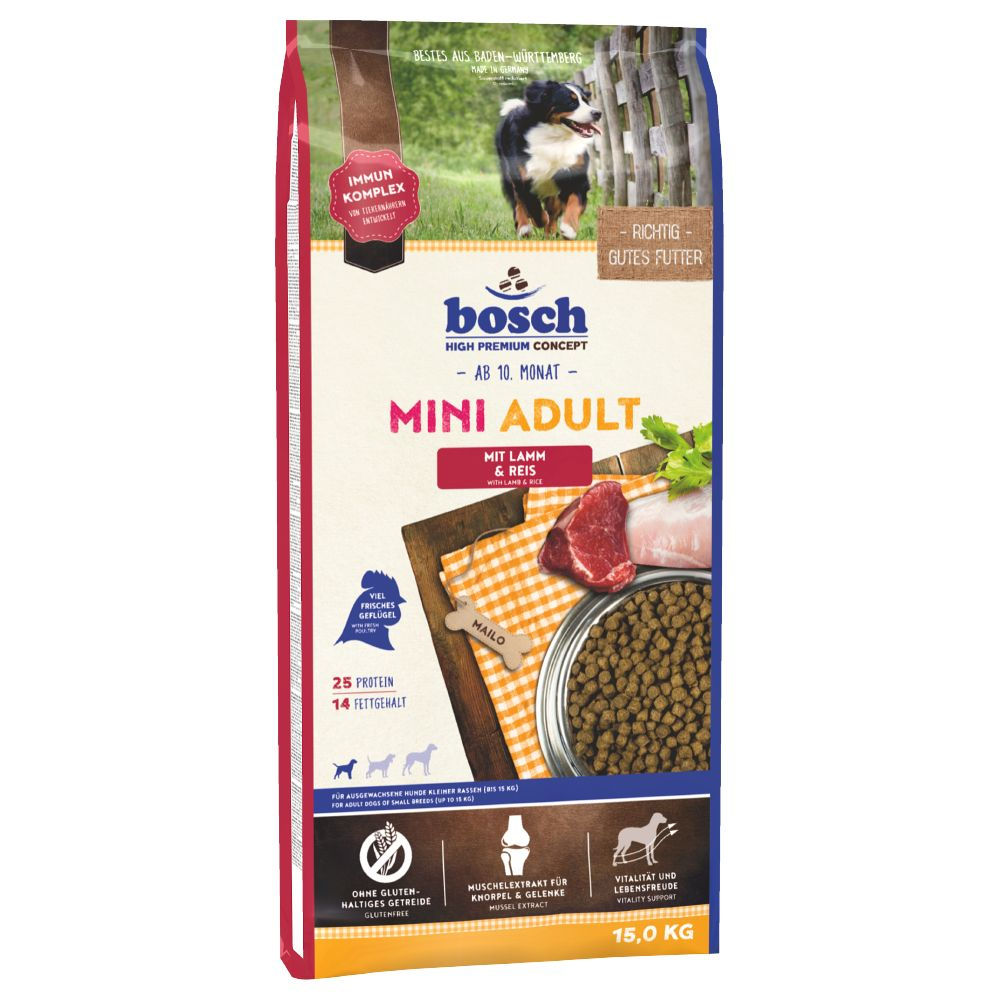 Bosch Mini Adult Lamb & Rice Dry Dog Food - 3kg