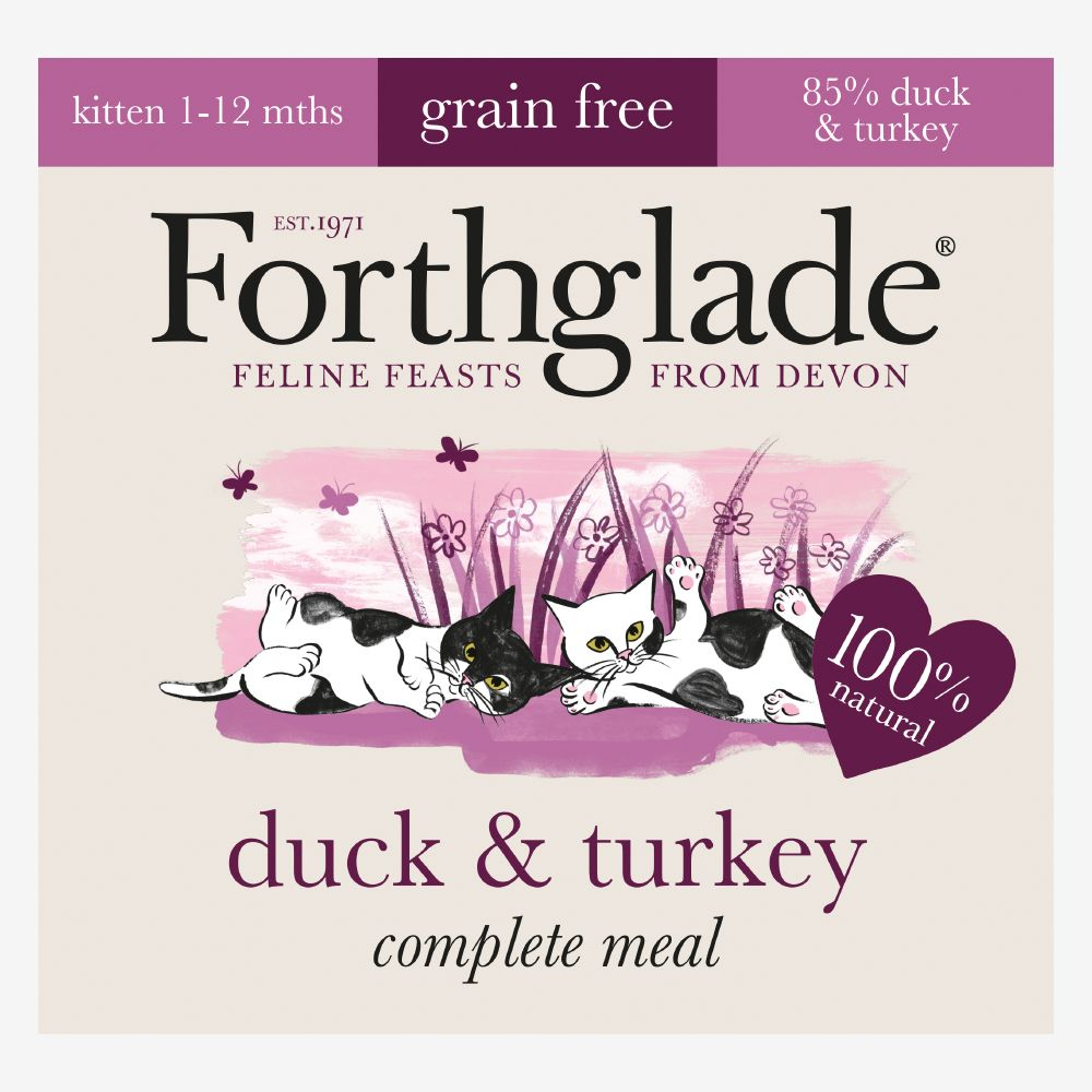 Forthglade Complete Meal Grain-Free Kitten - Duck & Turkey - Saver Pack: 48 x 90g