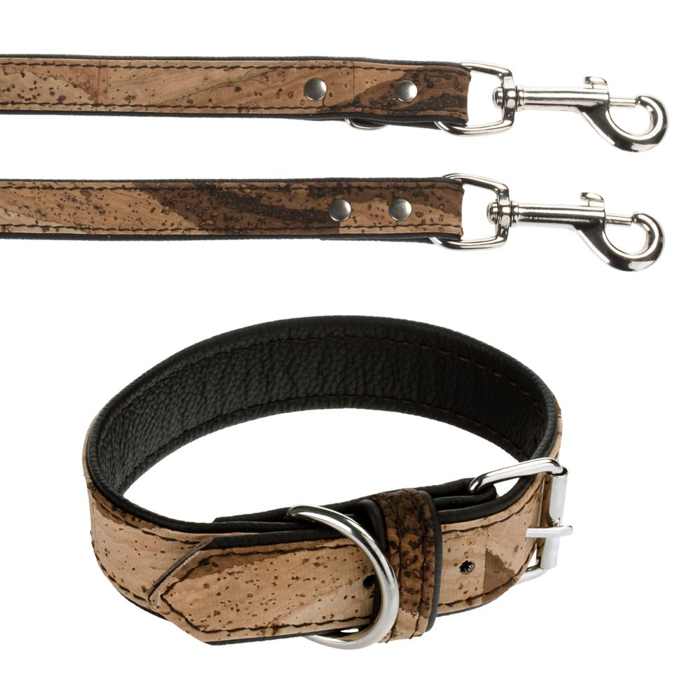 Heim Cork & Leather Tiger Dog Collar & Lead Set