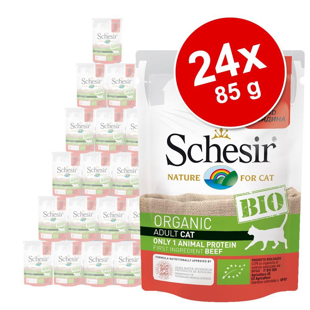 Ekonomipack: Schesir Bio Pouch 24 x 85 g - Nötkött & kyckling med äpple