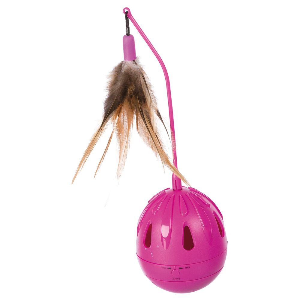 Jouet Trixie Œuf culbuto avec plumes pour chat - 7 cm de diamètre × 24 cm