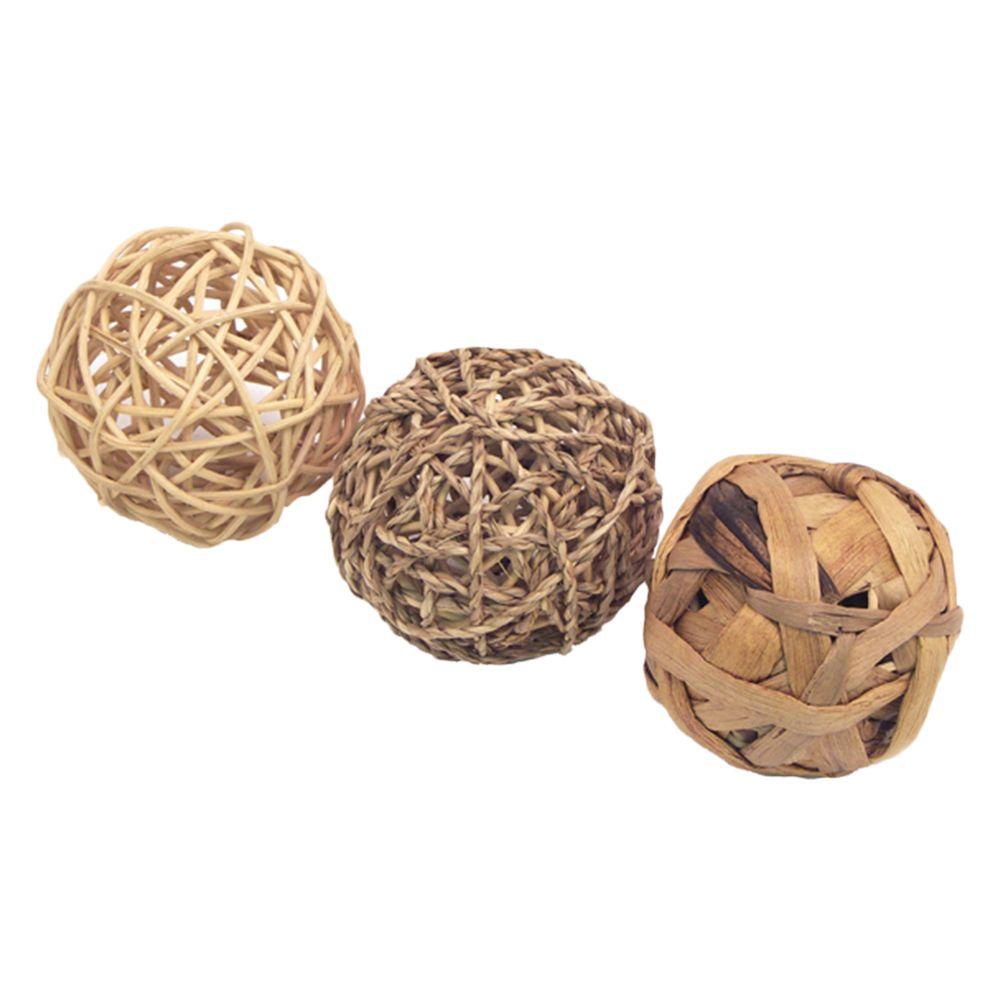 Image of Set palline gioco naturali Rosewood - set da 3 pz - Ø 8 cm