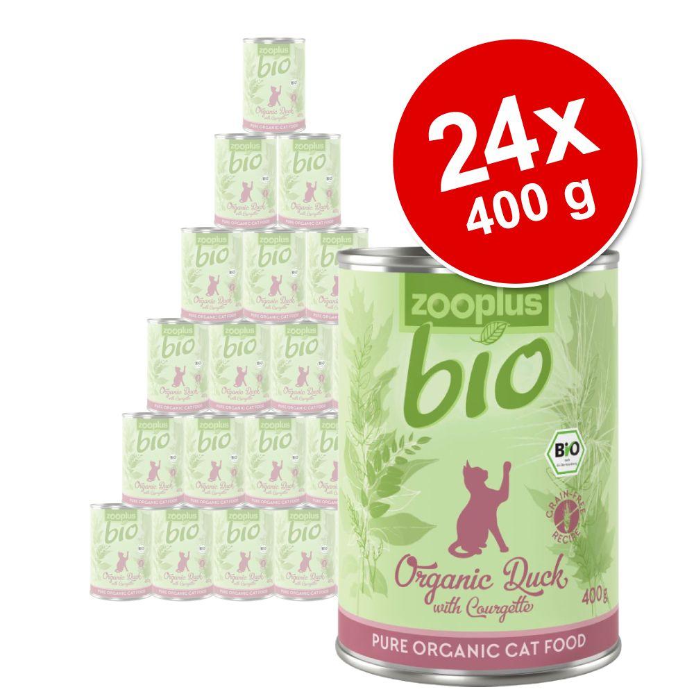 Ekonomipack: zooplus Bio 24 x 400 g - Blandpack: Eko-kyckling, Eko-anka, Eko-gås