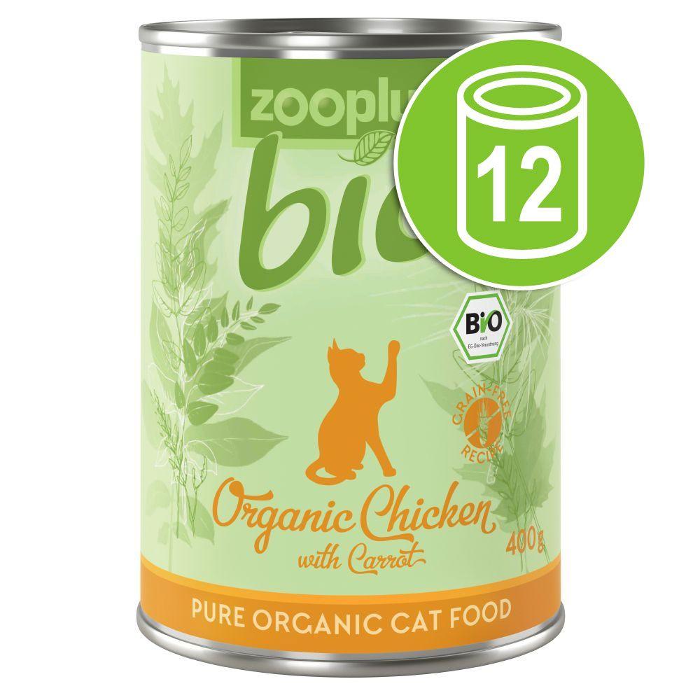 12x400g zooplus Bio poulet, carotte - Pâtée pour chat