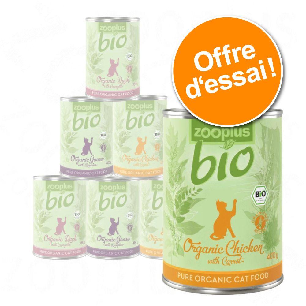 6x400g zooplus Bio lot mixte (3 variétés) - Pâtée pour chat