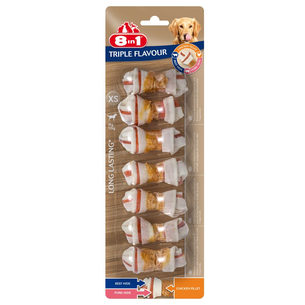 Bilde av 3 +1 Gratis! 8in1 Triple Flavour Snacks - Triple Flavour Bones L: 4 X 85 G