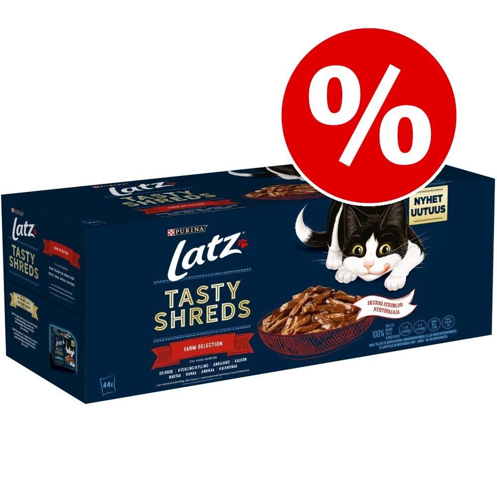 12 / 44 x 80 g Latz Tasty Shreds Pouches till sparpris! - Fish Selection (12 x 80 g)