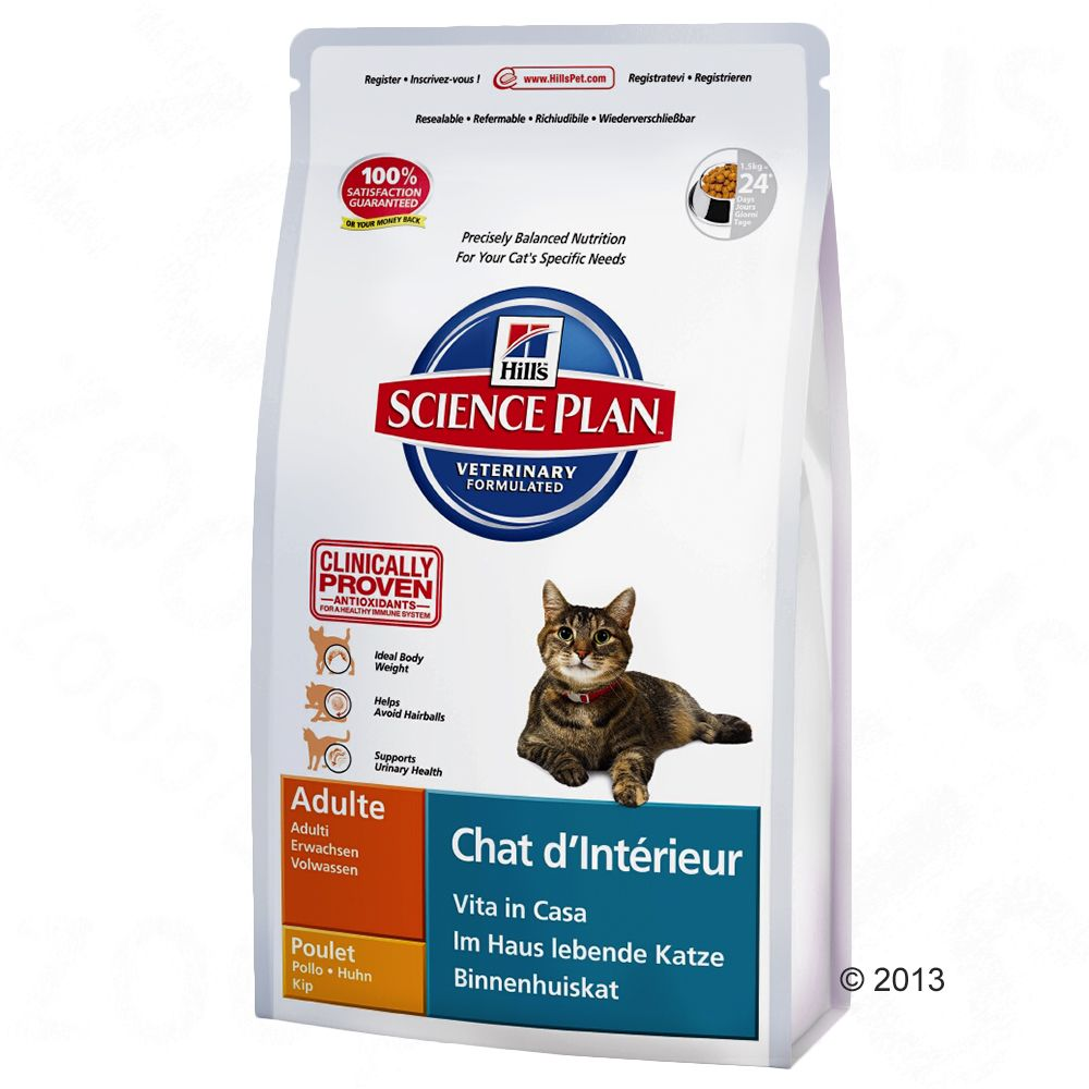 Hill's Feline Indoor Cat Adult, kurczak - 2 x 4 kg