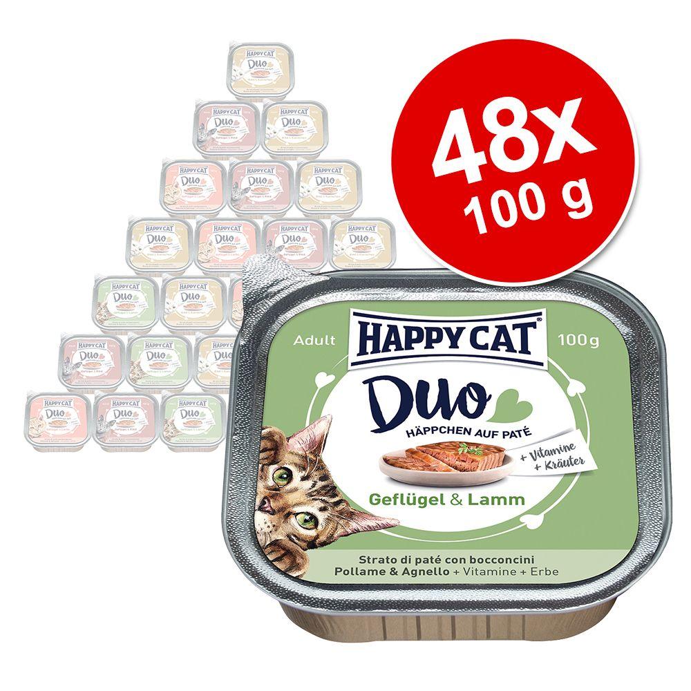 Ekonomipack: Happy Cat Duo - Bitar med paté 48 x 100 g - Blandpack: 5 sorter