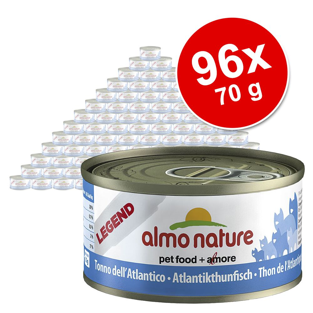 Blandat ekonomipack: Almo Nature Legend 96 x 70 g – Tonfisk från Stilla Havet & Atlanten kyckling räkor ost (4 sorter)