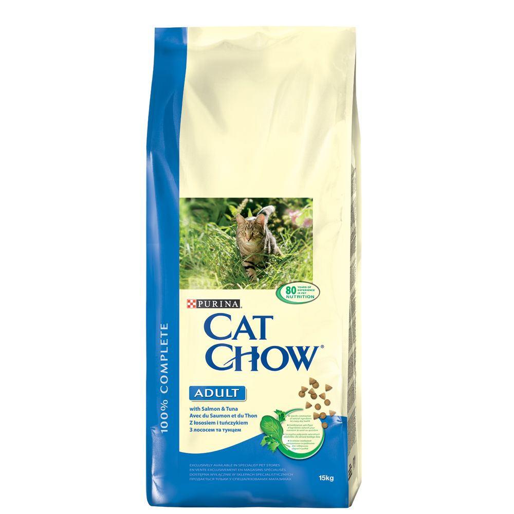 Purina Cat Chow Adult Salmon & Tuna, łosoś i tuńczyk - 15 kg