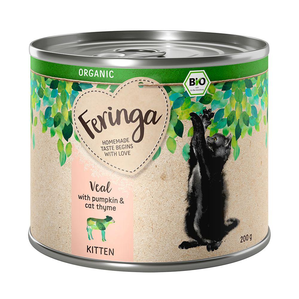 6x200g Kitten Øko Mix: 2 varianter Feringa kattefoder våd