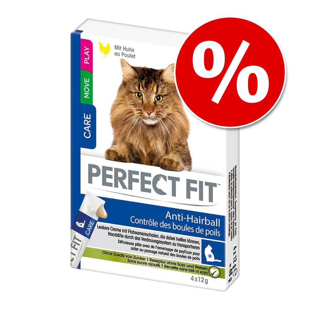 Ekonomipack: Perfect Fit kattgodis - Anti-Hairball 44 x 12 g