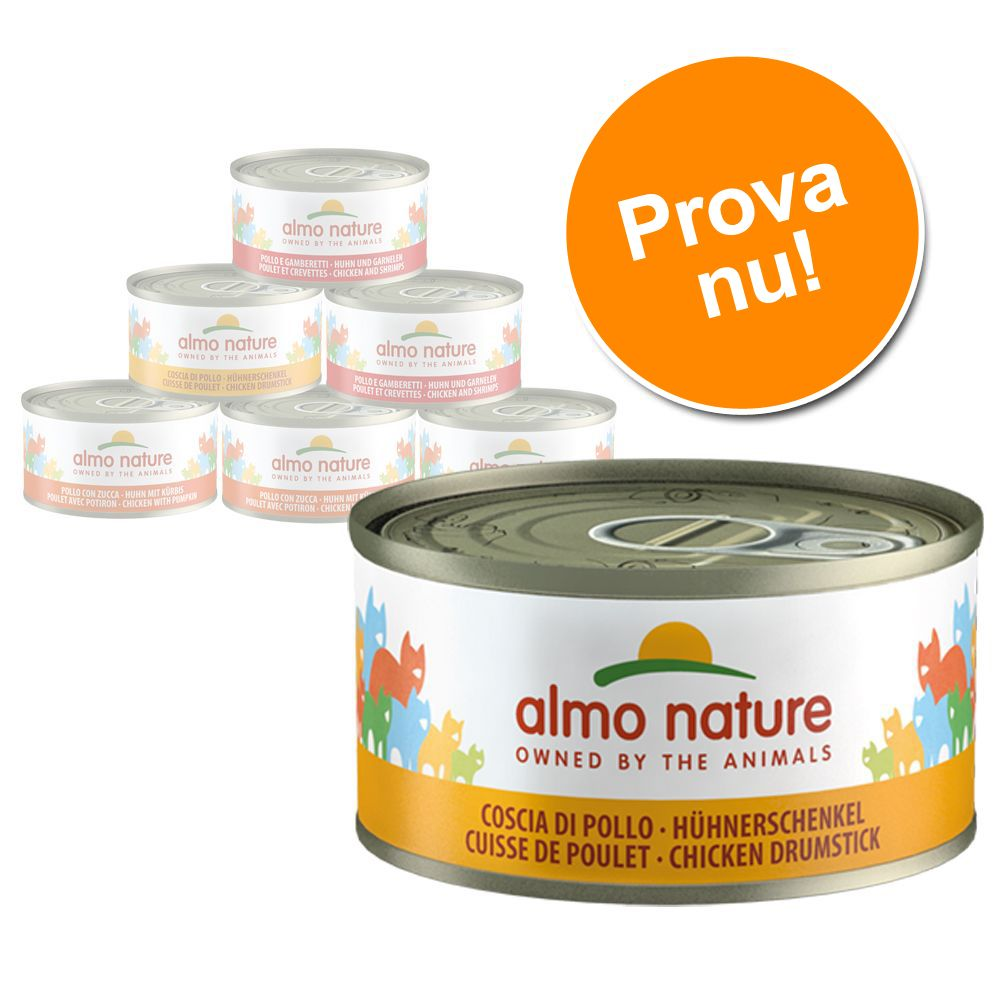 Provpack: Almo Nature 6 x 70 g - Kycklingvarianter