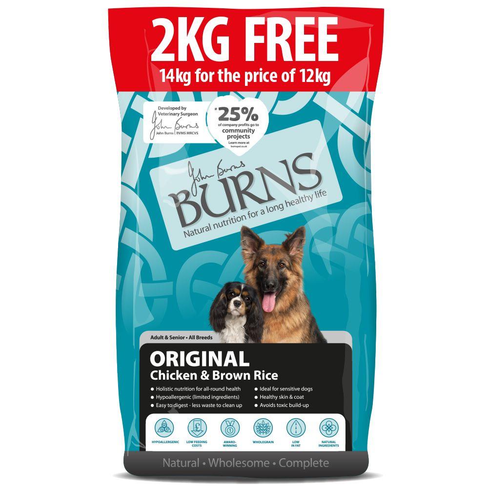 Burns Adult & Senior Original - Chicken & Brown Rice - 12kg + 2kg Free!* - 12kg + 2kg Free!