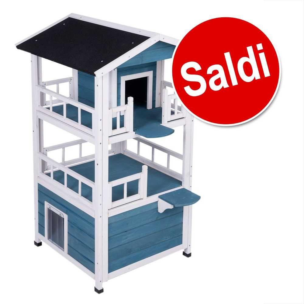 Image of Casetta Penthouse - L 72 x P 72 x H 124,5 cm - blu / bianco
