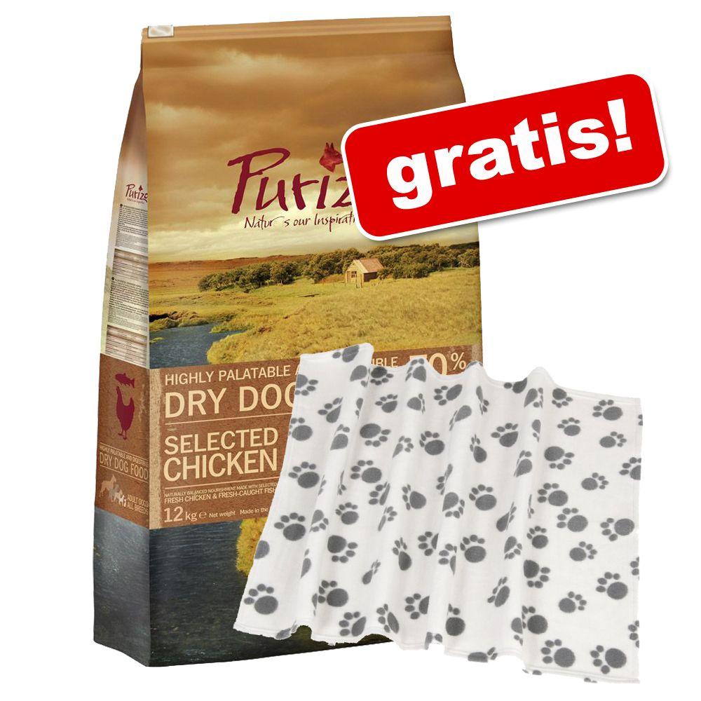 12 kg Purizon torrfoder för hundar + mysfilt med tassar på köpet! – Puppy
