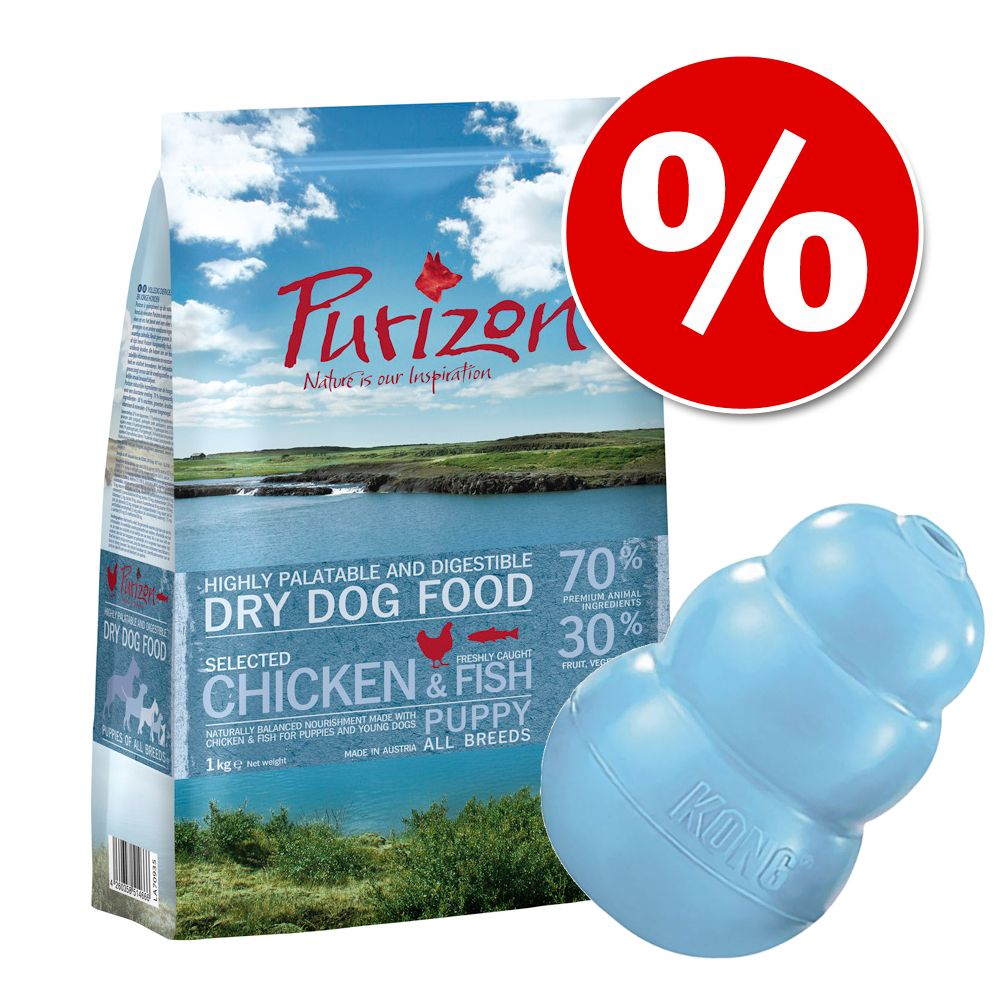 Image of Set misto 1 kg Purizon Puppy - senza cereali + KONG Puppy - 1 kg + KONG Puppy Blu S