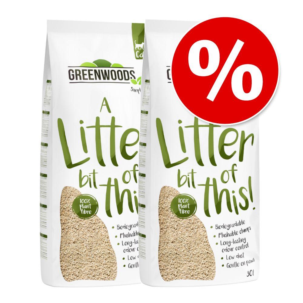 2x30L litière Greenwoods en fibres végétales - pour chat