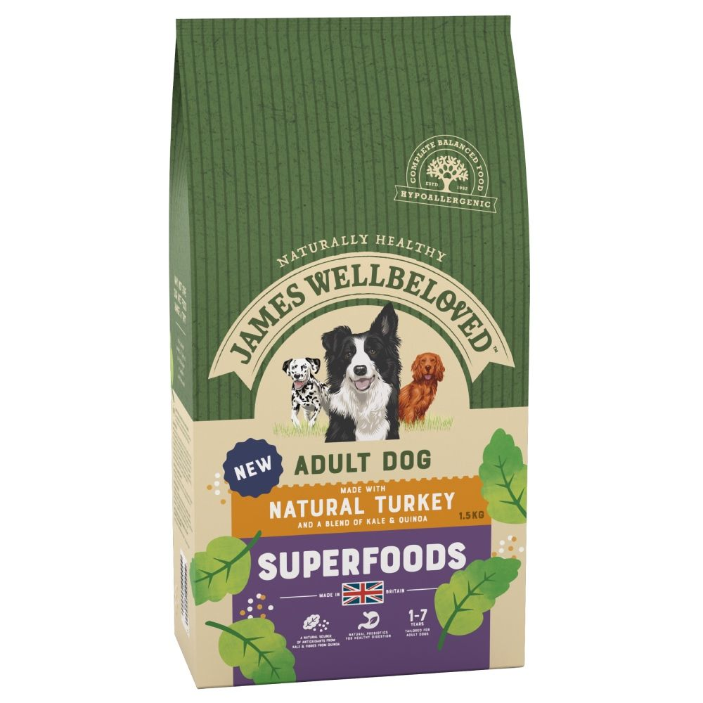 James Wellbeloved Adult Superfoods - Turkey with Kale & Quinoa - Economy Pack: 2 x 10kg