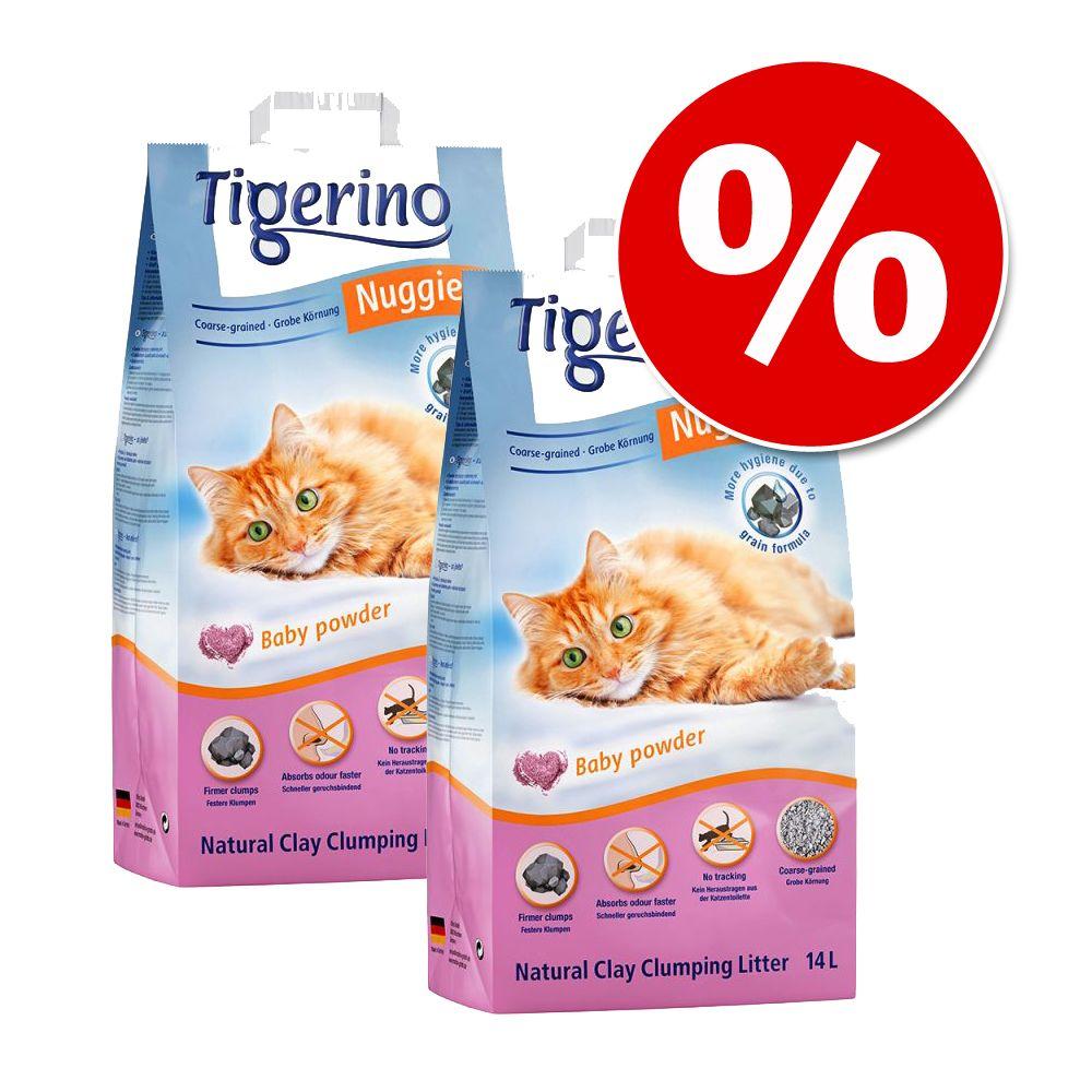 Ekonomipack: Tigerino Nuggies kattströ - babypuder, grova korn - Ekonomipack: 2 x 14 l