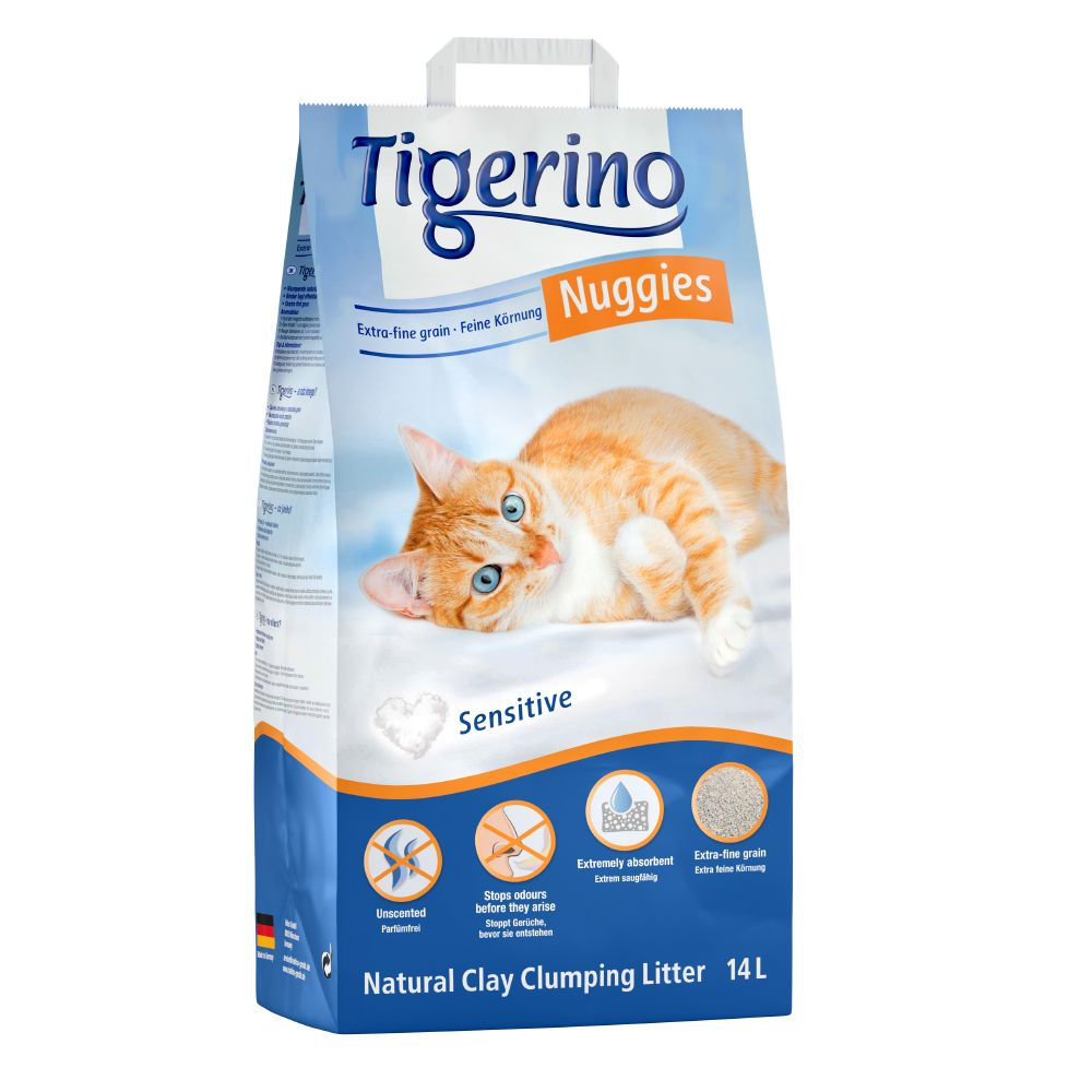Tigerino Nuggies Ultra Sensitive kattströ - doftfritt - 14 l