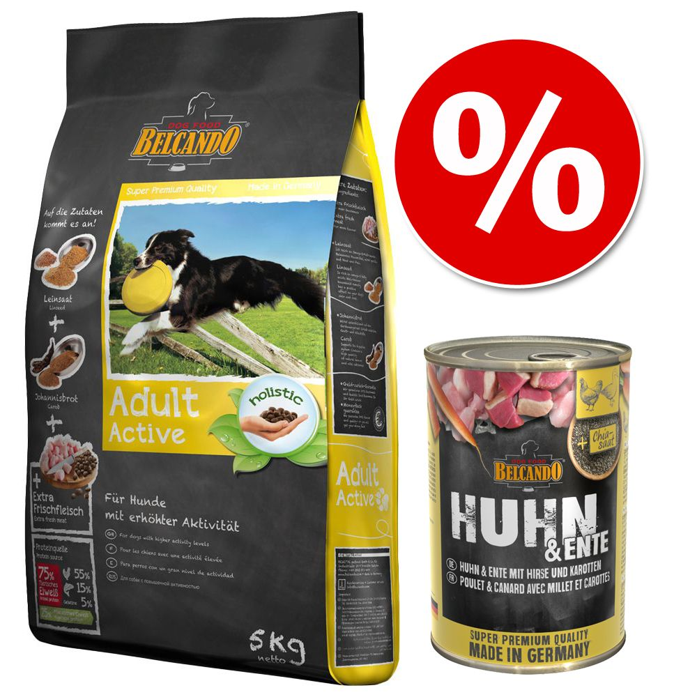 Blandpack: Belcando 15 kg / 12,5 kg + 6 x 400 g våtfoder - Finest Croc 12,5 kg