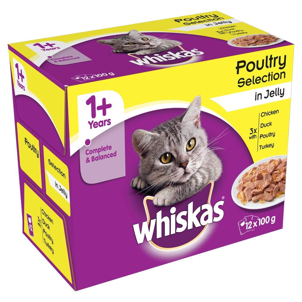 100g Whiskas Wet Cat Food - 10 + 2 Free!* - 1+ Fish & Meat Selection in Jelly (12 x 100g)
