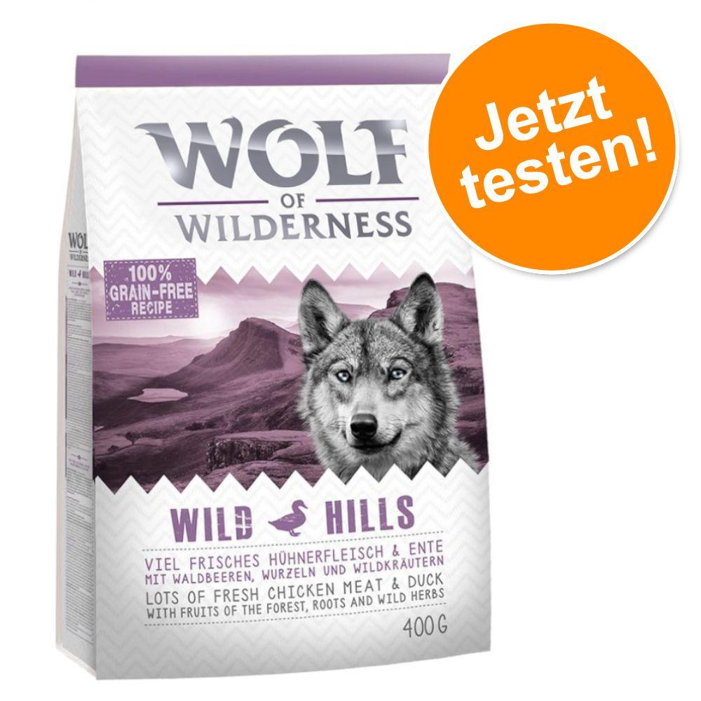 Probierknaller! Wolf of Wilderness Trockenfutter für Hunde - NEU: Explore The Mighty Summit- Performance (400g)