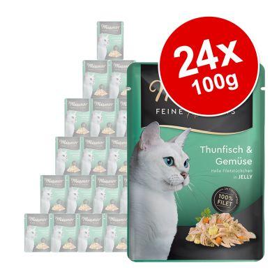 Miamor Filetes Finos en gelatina 24 x 100 g - Pack Ahorro - Atún y calamares