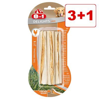 4 x 8in1 koiranherkut: 3 + 1 kaupan päälle! - Delights-puruluut kanatäytteellä L, 4 x 85 g