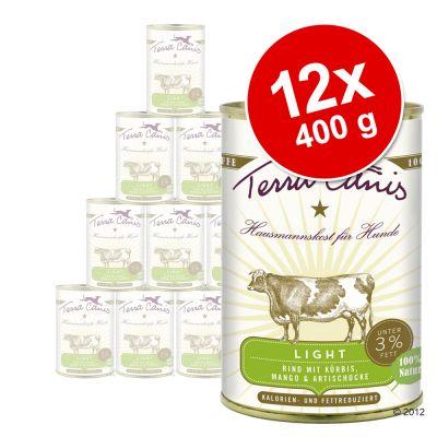 Terra Canis Light -säästöpakkaus 12 x 400 g - naudanliha, kurpitsa, mango & artisokka