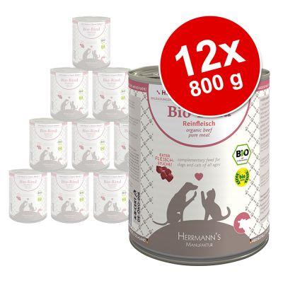 Herrmanns Pure Meat -säästöpakkaus: 12 x 800 g - mix: luomukana & hevosenliha