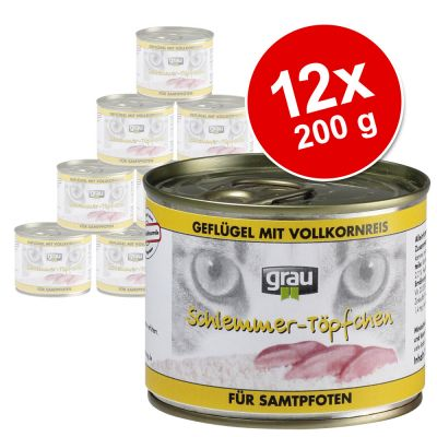 Ekonomipack: Grau Gourmet 12 x 200 g – Spannmålsfritt: Kanin, nötkött & anka