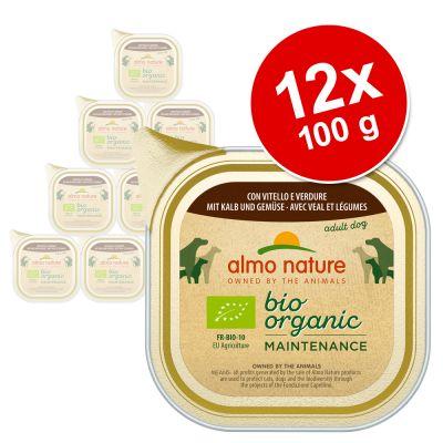 Almo Nature Daily Menu Bio -säästöpakkaus 12 x 100 g - mix 1: vasikanliha & vihannekset + naudanliha & vihannekset