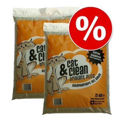 Dubbelpack Cat & Clean (2 x 15 kg) till extra lågt pris! – Sensitive med babypuder-doft