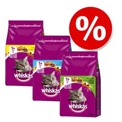 Whiskas Adult -valikoima 3 x 3,8 kg - Chicken, Tuna + Lamb