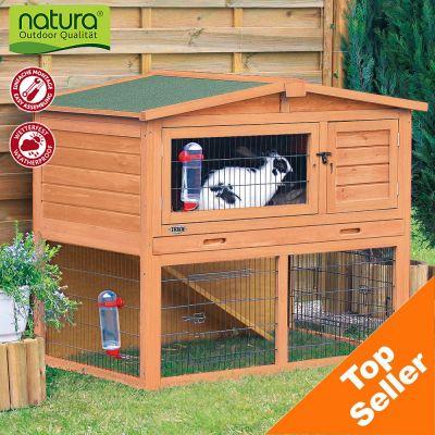 Trixie Natura Small Animal Hutch With Enclosure - 123 X 76 X 96 Cm (l X W X H)