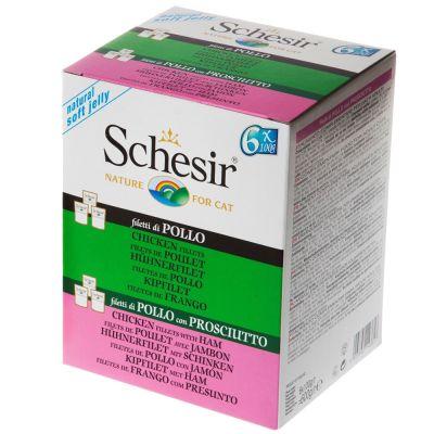 Schesir Jelly Pouch -lajitelma 6 x 100 g - 3 x tonnikala, 3 x tonnikala & bassi
