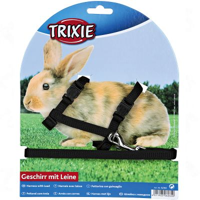 Trixie Set med sele och koppel för kaniner – Svart