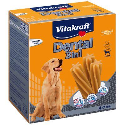 Snacks Vitakraft Dental 3in1 para perros - Perros medianos y grandes (28 uds)