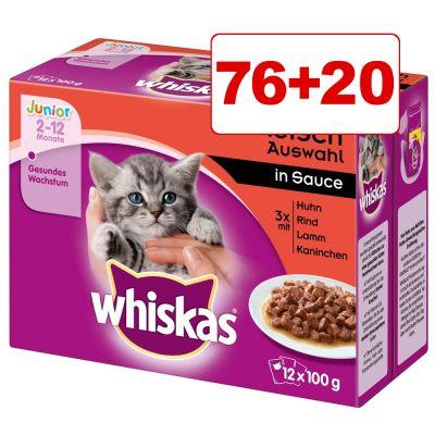 Whiskas Pouches kissanruoka 96 x 100 g: 76 + 20 kaupan päälle! - Senior 7+ perinteinen hyytelövalikoima (96 x 100 g)